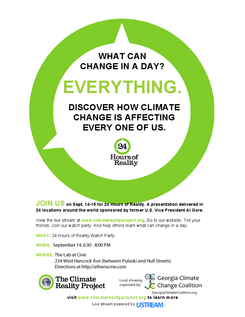 GCCC flyer for the Climate Reality Project stream, 9/14/2011